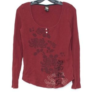 Lucky Brand Tee Thermal Waffle Knit Red Small G1